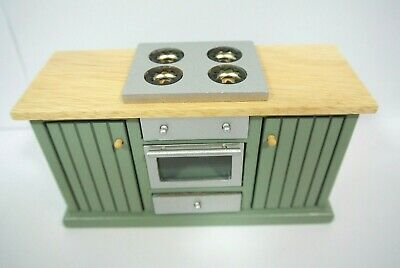 Wood green Miniature counter top cabinet Stove Oven Kitchen furniture Dollhouse