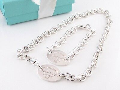Tiffany & Co. Silver Oval Return To Necklace Bracelet Set Packaging New Style