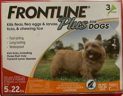 New Frontline Plus For Dogs 8 Weeks & Older 5 To 22 Lbs 3 Doses 3 Month Supply