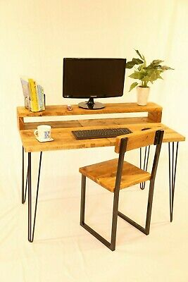 Wooden Desk with monitor stand, Scaffold Boards, Hairpin legs, Industrial Rustic