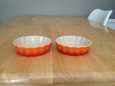 2 Le Creuset Mini Flutted Flan Dishes Volcanic Colour