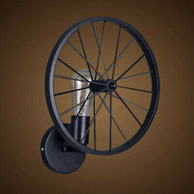 Personality Wrought Iron Wheel Wall Lamp Black Wall Lights Office Staircase Bar