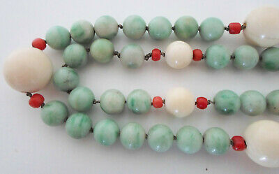 Xl Antique Old Chinese Carved Jade Jadeite Coral Bone Bead Court Canton Necklace