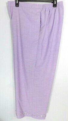 NWT Alfred Dunner Silver Spring Lilac Embellished Capri Pants Size 20 36x22 P576