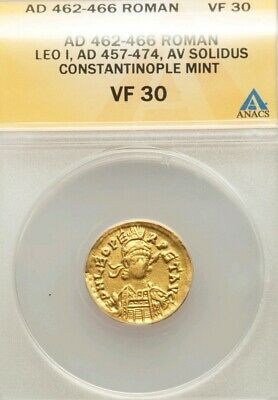 Eastern Roman Empire Leo I Gold Solidus ANACS VF30 Ancient Coin