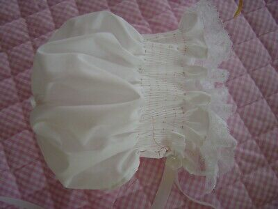 ADULT BABY BONNET ONE SIZE FITS  BABY WHITE WITH BABY PASTEL TRIM