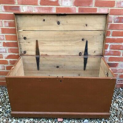 LARGE Antique French Painted Pine Linen Trunk