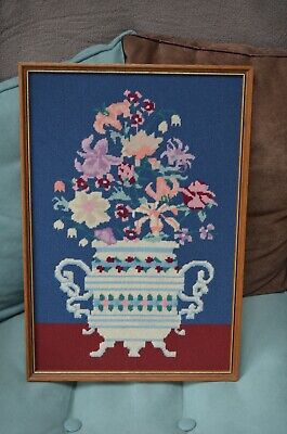 Vintage Completed Needlepoint Gorgeous Flowers Framed