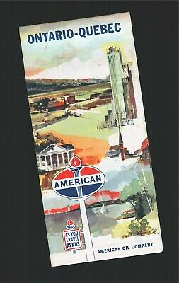 1961 Ontario - Quebec Canada American Oil Company Rand McNally Road Map