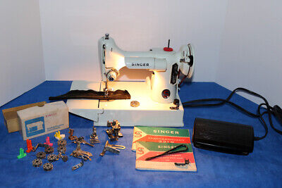 White Singer 221 Featherweight Sewing Machine case & Attachments