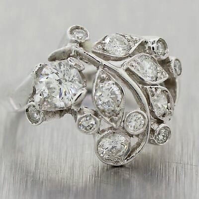 1950's Antique Art Deco Platinum 1ctw Diamond Cocktail Ring