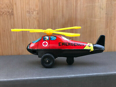 Tin Toy Blech HELICOPTER EMERGENCY 8 Made in Japan 10cm Friction