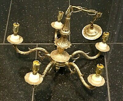 Vintage Ornate French Chandelier Brass Ceiling Light 5 Arms Chain & Ceiling Rose