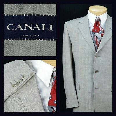 Canali Mens 3 Button Suit Size 42R 34X29 Grey Crosshatch 100% Wool Made in Italy