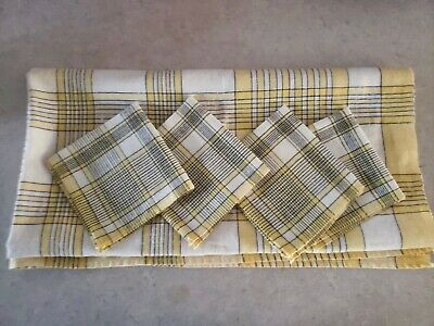 Vtg Simtex Sunny Yellow & Black Geometric Plaid Cotton Tablecloth 4 Napkins NICE