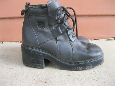 VINTAGE GRUNGE 90s GREY LEATHER CHUNKY BOOTS 37 7