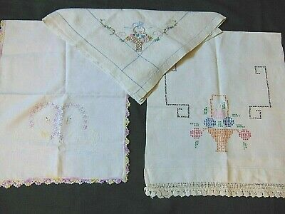 Lot of 3  VTG  Hand Embroider Runners & Tablecloth TWIN SWANS & FLORAL BASKETS