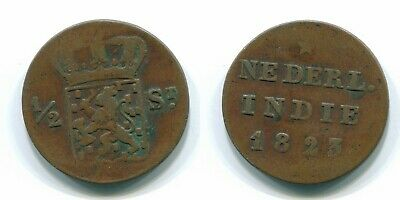 1823 SUMATRA 1/2 STUIVER NETHERLANDS EAST INDIES Colonial Coin #S11825UW