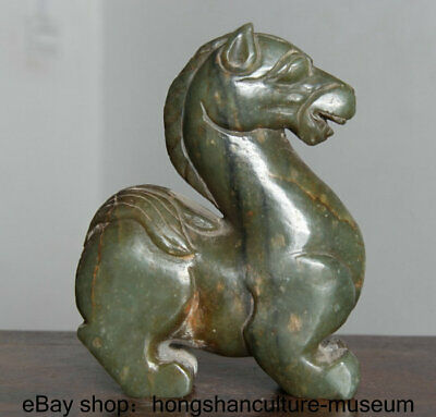 Good Hongshan Culture Old Green Jade Stone Carved Horse Animal Statue Sculpture