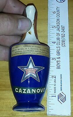 Miniature pottery stoneware Bottle Vase. Cazanove cobalt blue / white Texas Star