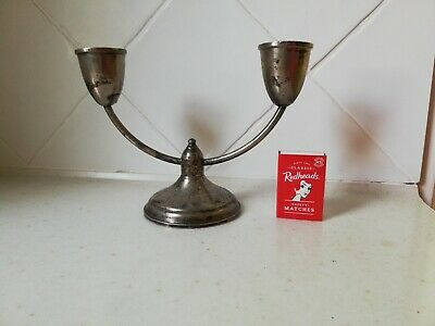 Vintage/antique Art Deco sterling silver double candlestick; FREE POST