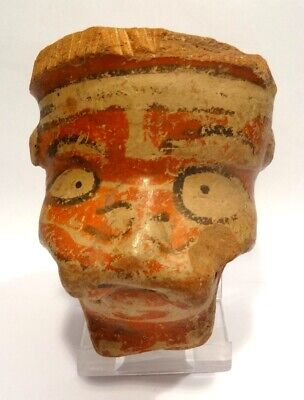 Masque Precolombien - Costa Rica - Nicoya 500 Ad - Pre-Columbian Stylized Face