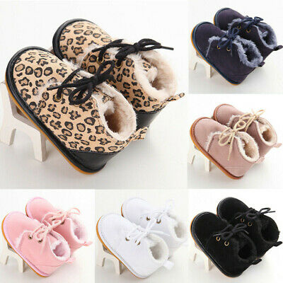 Baby Girl Boy Fur Lined Snow Ankle Boots Winter Booties Newborn Crib Shoes 0-18M