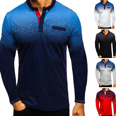 Men's Button Neck T Shirt Basic Tops Long Sleeve Sports Casual Cotton Tee Shirts