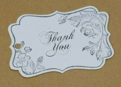 Hand stamped vintage white scroll rose theme 'Thank you' gift tags Pk-100