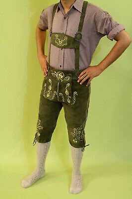 Bavarian Lederhosen Oktoberfest real leather embroidered pants SUEDE GREEN