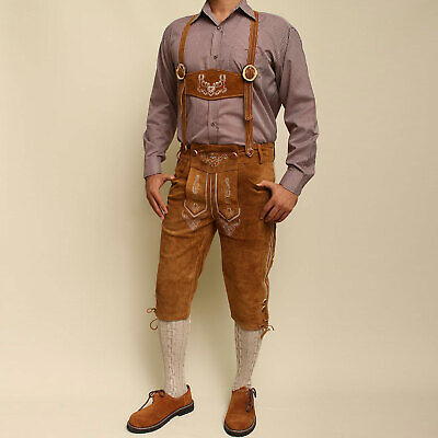 Bavarian Lederhosen Oktoberfest real leather embroidered pants SUEDE BROWN