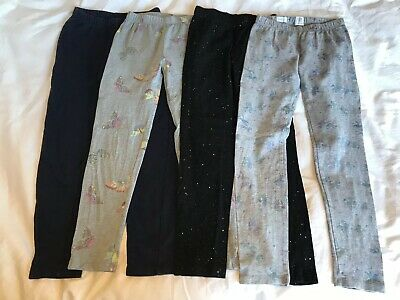 Gap Girls Leggings Age 6-7 **FOUR PAIRS** Unicorns, Butterfly, Sparkly, Navy.
