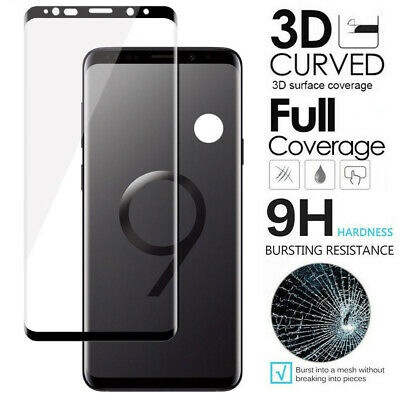 For Samsung Galaxy S9 Plus - FULL COVER 3D Tempered Glass Screen Protector Black