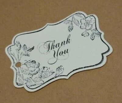Hand stamped vintage cream scroll rose theme 'Thank you' gift tags Pk-100