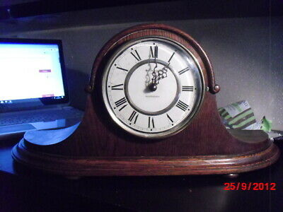 "1930s/40s oak case mantle clock fitted with ""junghans""  quartz westminster chime"