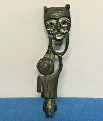 Vintage Brass Metal Unusual Door Knocker Cat Animal Face Child On Handle
