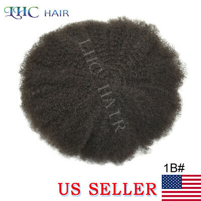 French Lace Afro Mens Toupee Front African American PolySkin Hairpiece OFF BLACK