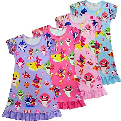 BABY SHARK Girls summer dress nightie pjs pyjamas size 1-6 au stock xmas