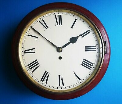 #036 Antique Mahogany Gut Wire Fusee Station/Office Wall Clock