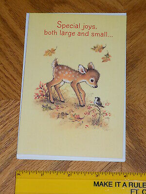 """Unused Thanksgiving Card """"Fawn and Baby Bird Greet Each Other in the Forest"""""""