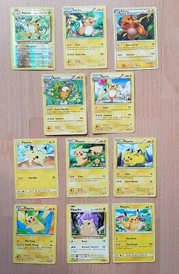 LOT 11 CARTES POKEMON PIKACHU & RAICHU dont 4 NEUVES 1 REVERSE no ex ni gx holo
