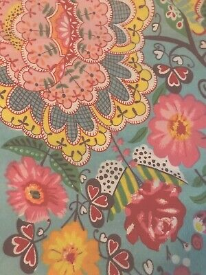 Floral Tablecloth Retro 70's Blue Coral Pink Crochet Edge rectangle 84x60""
