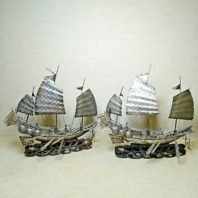 Antique A pair of Chinese silver boats,  19th-20th century. Very nice bases.