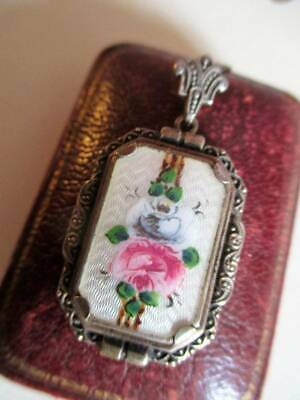 Superb Art Deco Silver & Enamel pendant necklace 835 flowers Guilloche European