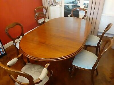 Large Antique Mahogany Extending Dining Table And Chairs