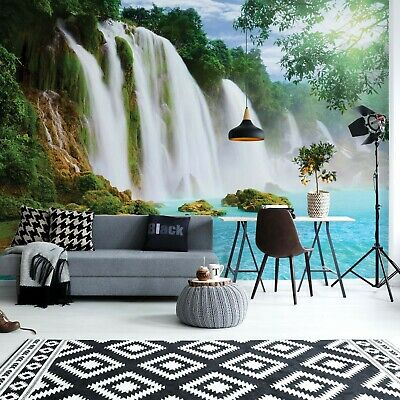 Waterfall Lake Photo Wallpaper Wall Mural Fleece Easy-Install Paper