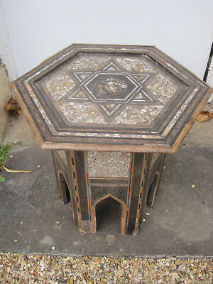 Moorish Ebonised Mother of Pearl Inlaid Sewing Table of Hexagonal Form #