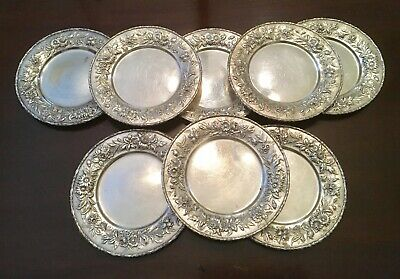 8 Repousse Sterling Silver Bread Plates S Kirk & Son 128 Floral Leaf Edge