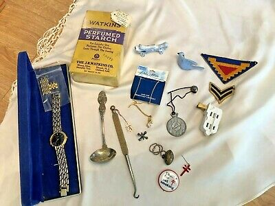 VINTAGE LOT OF 15 JUNK DRAWER Advertising Ladle Button Hook Military Stripes