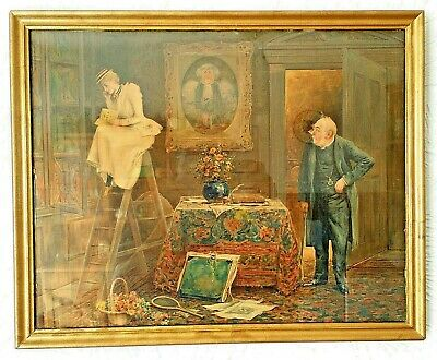 Fine Quality Framed Late 19th-Early 20th Century Lithograph Signed Hal Ludlow 93